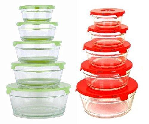 Uniware 10pcs Glass Containers with Lid Microware Freezer Safe Storage Bowl1250ml X 2 650ml X2 500ml X 2 250ml X 2 150ml X 2 A10059 by UNIWARE