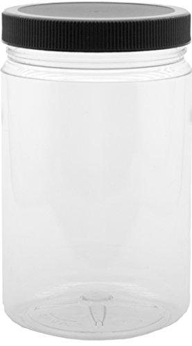 JS - Plastic Mason Jars with Lids - 32 Oz Plastic Containers with Lid - 4 Pack - Clear BPA Free PET Quart Jars with Black Sealing Caps - Bulk Storage Screw Container with Lid - Large Plastic Jars