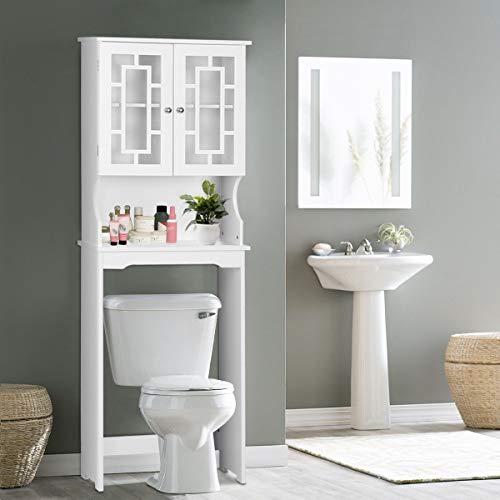 BestComfort Over-The-Toilet Space Saver Bathroom Cabinet Organizer Over ToiletStorage Cabinet with Adjustable Shelf for Bathroom
