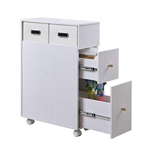 EZFurni Low Profile Wooden Bathroom Floor Storage Cabinet with Wheels Narrow Bath Sink Organizer Toilet Paper Holder 2 Slide Out Drawers 2 Foldable Bins White Oak