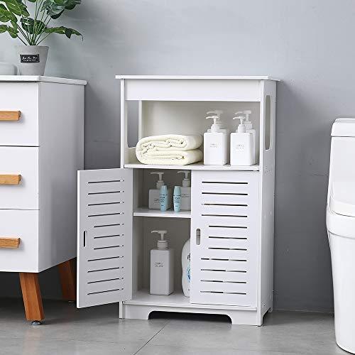 Goujxcy Bathroom Storage CabinetFloor Utility Cabinet Toilet Side Storage Shelf Organizer Bathroom Rack with DrawerDoors 1975 x 12 x 315White