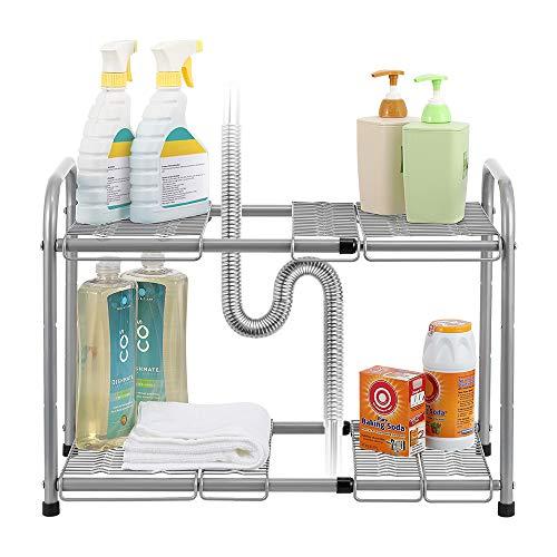 NEX 2-Tier Under Sink Shelf Organizer Under Sink Storage Rack with Flexible Expandable 15 to 27for Kitchen Bathroom Cabinets