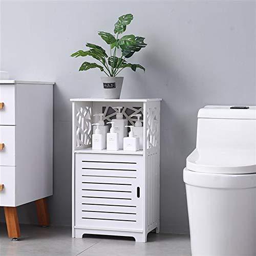 SSLine Free Standing Bathroom Cabinet Organizer Bathroom Floor Storage Cabinet with Single Door and Shelf Multifunctional Storage Cabinet White Finish Wood
