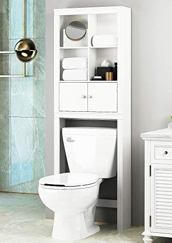 Spirich Home Bathroom Shelf Over The Toilet Bathroom Cabinet Organizer Over Toilet Space Saver Cabinet Storage White