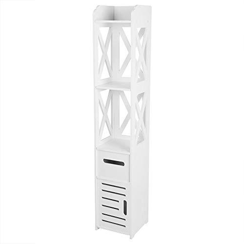 Wood Plastic Bathroom Cabinet 2X Home Corner Storage Cabinet Tall 1-Door Floor Cabinet Linen Tower Organizer Rack Stand with 2 Drawers 4724X885X866inch