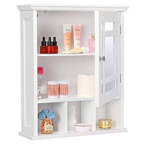 Yaheetech Bathroom Cabinet Organizer Wall Mounted Wooden Medicine Cabinet Storage with Mirror Doors Adjustable Shelf White Renewed