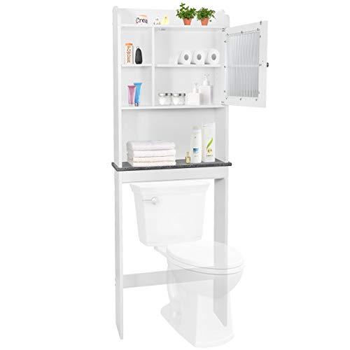 ZENSTYLE Bathroom Over The Toilet Cabinet Organizer Over Toilet Storage Space Saver with Adjustable ShelvesCubbyFramed Door Panel