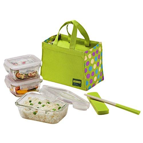 Lock Lock Glass Euro Lunch Box Set Green Color Dot Pattern Bag