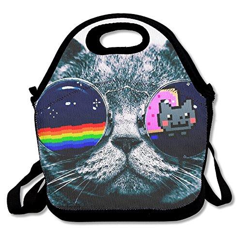 Nyan Cat Glasses Lunch Box Tote Black