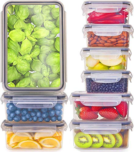 Fullstar 9 Pack Food Storage Containers with Lids - Plastic Food Containers with Lids - Plastic Containers with Lids BPA-Free - Leftover Food Containers - Airtight Leak Proof Food Container