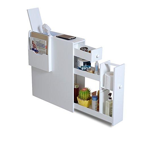 Organizedlife White Bathroom Floor Cabinet Storage with Drawer and Magazine Holder