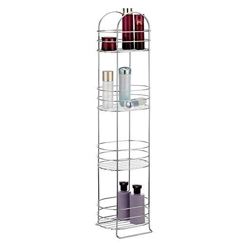 VonHaus 4 Tier Chrome Bathroom Storage Organizer Stand - Space Saver Floor Shelf Rack for Bathroom Accessories