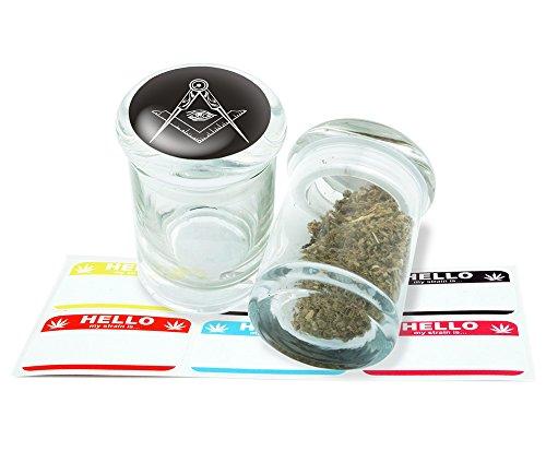 Freemason Design Pop Top Glass Jar Storage With FREE 6 Labels Item PT21816-10