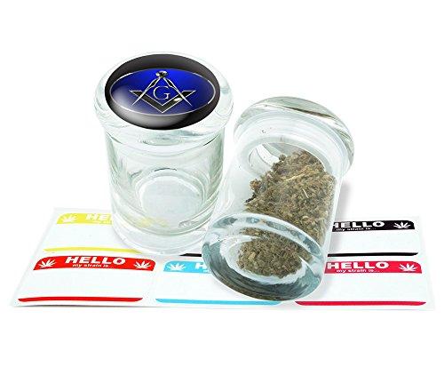 Freemason Design Pop Top Glass Jar Storage With FREE 6 Labels Item PT21816-9