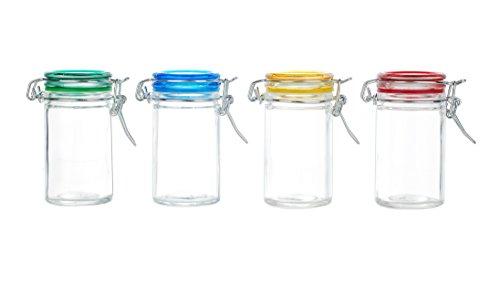 Kinetic 56022 Glassworks 4-Piece Glass Jar Storage Set with Jewel Colored Lid Clear