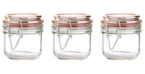 Kinetic GoGreen Glassworks Copper Style 3Piece Glass Jar Storage Set 680 oz Each 57154  Clear