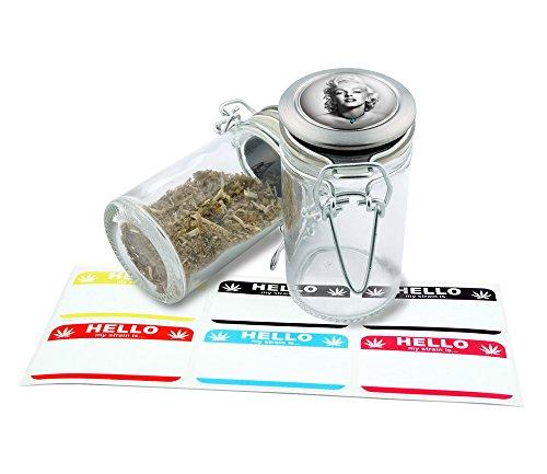 Marilyn Monroe Design Herbal Glass Jar Storage 75 ml-25 fl oz With 6 FREE Labels Item GJ012516-7