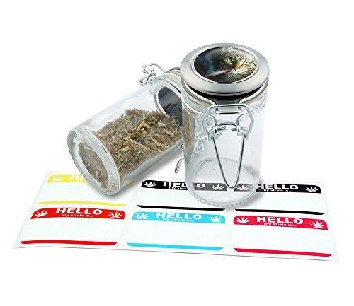 Smoking Cat Design Herbal Glass Jar Storage 75 ml-25 fl oz With 6 FREE Labels Item  GJ112315-37