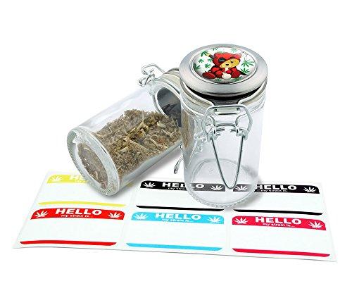 Smoking Deadpool Bear Herbal Glass Jar Storage 75 ml-25 fl oz With 6 FREE Labels Item GJ21916-5