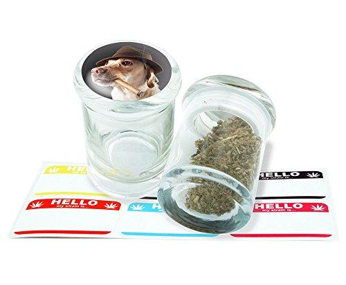 Smoking Dog Design Pop Top Glass Jar Storage With FREE 6 Labels Item PT21816-37