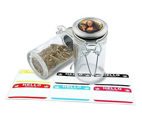 Smoking Mona Lisa Design Herbal Glass Jar Storage 75 ml-25 fl oz With Free 6 Labels  GJ102615-7