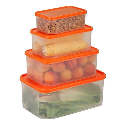 Honey-Can-Do KCH-03834 Nesting Rectangular Food Storage Container Set BPA Free 8-Piece