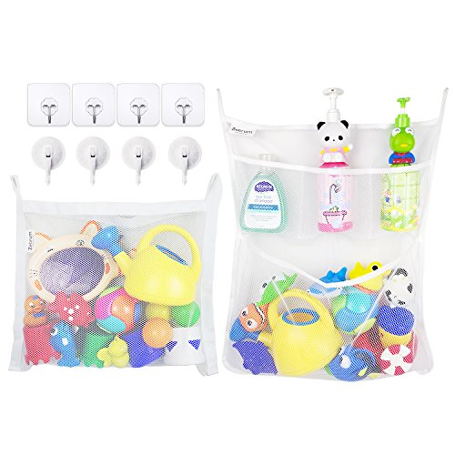 Bath Storage Mesh Bag Set 4 Pockets Hanging Bathroom Toy Organizer with Suction Hooks 2 Pack White