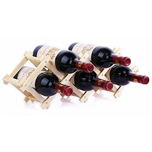 EtechMart Countertop Stackable Wooden Wine Rack Free Standing 5-Bottle