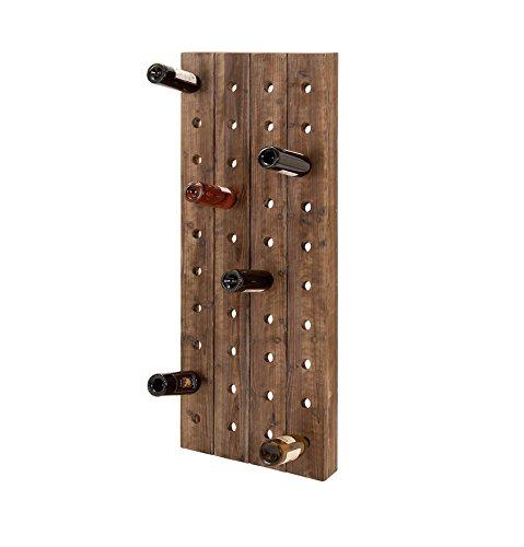 Farmhouse Wooden Wine Rack Pegboard Wall Mount Bottle Storage Holder Display Home Kitchen Bar Decor 40 Bottle 21x4x57