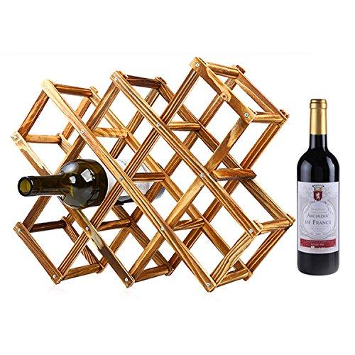 KobwaTM Creative Foldable 10 Bottle Wooden Wine Rack Organizer Display Shelf Carbonized Color with Kobwas Keyring