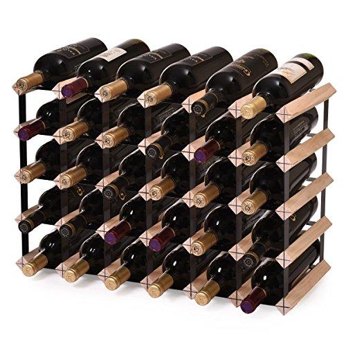 LAZYMOON 30 Bottle Capacity Wooden Wine Rack Storage Hanging Home Bar Kitchen Beer Shelf Holder