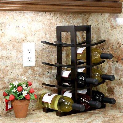 NEW Home Bar Furniture Bamboo Dark Espresso Wooden Wine Rack 12 Bottles Capacity