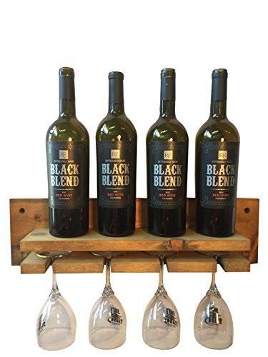Rustic Wooden Wine Shelf With Glass Rack Handmade in USA