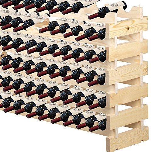 Topeakmart Wooden Stackable Wine Rack Six-Tier 72 Bottles Wine Shelf