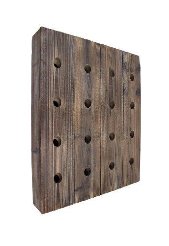 Wall Mounted 16 Bottle Rustic Wooden Wine Rack 25 in X 20 12 in