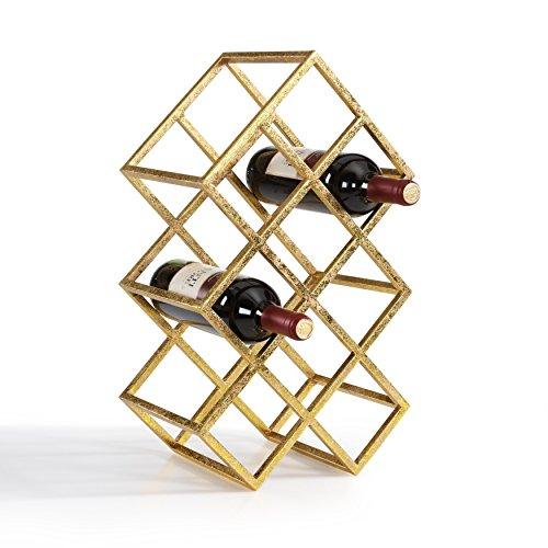 Danya B DS041 Decorative Metal Wine Storage Rack - Free-Standing Bottle Holder - Sparkling Gold Finish