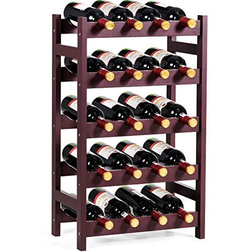 Giantex 20 Bottle Wine Rack Stackable Bottle Holder 5-Tier Storage Shelf Free Standing Wine Bottle Organizer for Bar Wine Cellar Basement Cabinet Dark Red