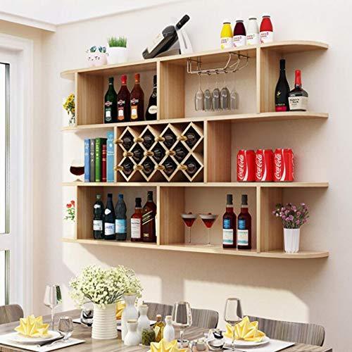 GJ Modern Minimalist Wall Hanging Wine Cabinet Wine Rack Wall Rack Diamond Wine Cellar Restaurant Wall Hanging Wine Cabinet Wine Rack Color  Wood Color Size  120 x 975 x 23CM