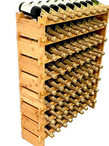 DECOMIL - 72 Bottle Stackable Modular Wine Rack Wine Storage Rack Solid Bamboo Wine Holder Display Shelves Wobble-Free Eight-Tier 72 Bottle Capacity