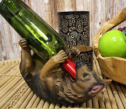 Ebros Lifelike Purebreed Pedigree Canine Adorable German Shepherd Dog Wine Bottle Holder Figurine Statue As Kitchen Wine Cellar Centerpiece Decor Storage Organizer German Shepherd