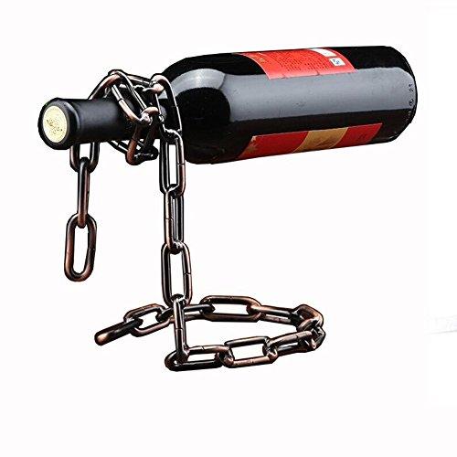Betan Novelty Magic Wine Bottle Holder Floating Steel Link Chain Wine Bottle RackHolder - Holds Bottles In the Air(Bronze)