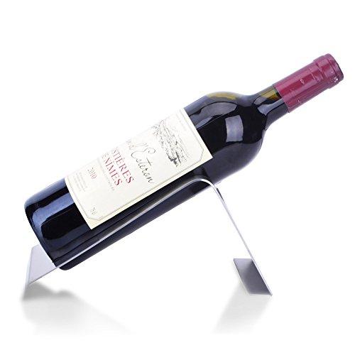 CdyBox Stainless Steel Wine Rack Single Wine Bottle Holder Rack Display Silver