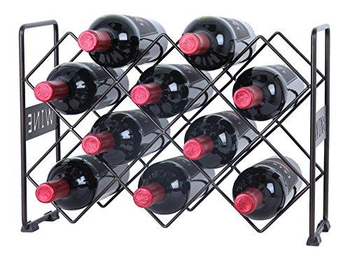 Finnhomy 10 Bottle Wine Rack with Wine Pattern Wine Bottle Holder Free Standing Wine Storage Rack 2-Way Storage Original Design Iron Brozen