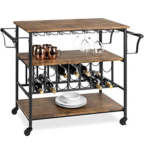 Best Choice Products 45in Industrial Wood Shelf Bar Wine Storage Service Cart Trolley w 14 Bottle 18 Glass Racks Locking Caster Wheels
