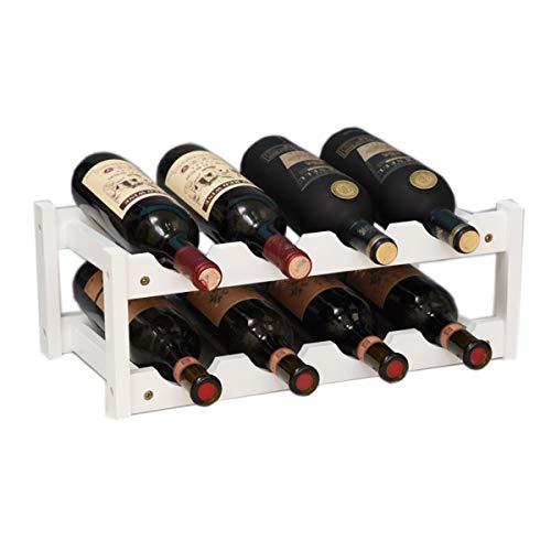 Kework 8 Bottles Wine Rack 2 Tier Bamboo Wine Display Rack Tabletop Wine Rack Desktop Countertop Free Standing Wine Storage Shelf 8-Bottle White