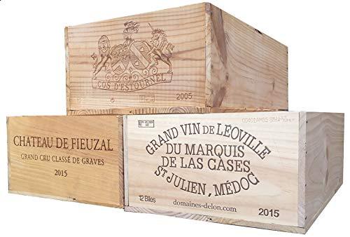 Vineyard Crates One 1 Decorative French Wine Crate - Wooden Box for Wine Storage Wedding Decor DIY Projects Garden Planter Boxes NO Lid NO Storage Inserts 12BtlStd