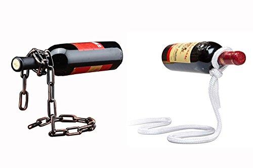 Makidar Red Wine Bottle Holder 2 Packs Magic Chain Magic Rope Floating Steel Chain Red Wine Bottle Rack Holder Stand