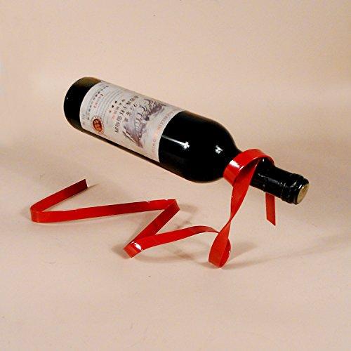 YK Magic Suspended Ribbon Wine Rack Suspension Wine Stand Novelty Iron Rack Bottle Holder Stand Bar Wedding Whiskey Stone Silk Rope bright red