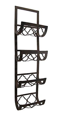 28 Black Iron Rust Brown-Finish Vertical Wine Rack