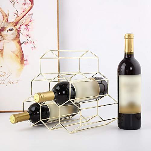 Frame Metal Geometric Iron 6 Bottle Wine Rack Metal Freestanding Kitchen Storage Stand